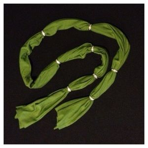 green scarf with crystal rondels
